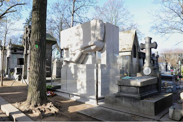 Oscar Wilde's renovated tomb at Pere Lachaise cemetery - Paris