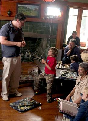 Director Jon Favreau and Jonah Bobo on the set of Columbia Pictures? Zathura