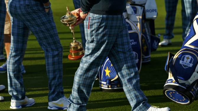 Europe Ryder Cup captain Paul McGinley holds the Ryder Cup ahead of the 2014 Ryder Cup at Gleneagles in Scotland
