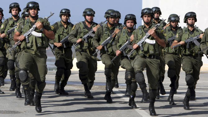 Plestinian security officers train in the West Bank town of Jenin, Wednesday, Nov. 28, 2012. The Palestinians will request the UN to upgrade their status to an observer state on November 29. The status could add weight to Palestinian claims for a state in the West Bank, Gaza Strip and east Jerusalem, territories captured by Israel in the 1967 Mideast war from Jordan.(AP Photo/Mohammed Ballas)