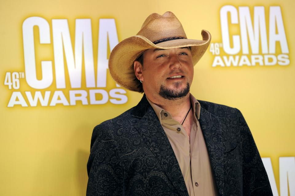 Jason Aldean arrives at the 46th Annual Country Music Awards at the Bridgestone Arena on Thursday, Nov. 1, 2012, in Nashville, Tenn. (Photo by Chris Pizzello/Invision/AP)