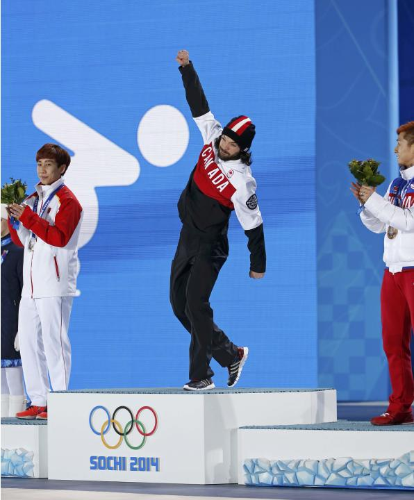 Medal ceremony for the men's 1,500 metres short track speed skating race at the Sochi 2014 Winter Olympics