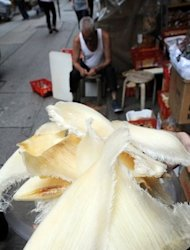 <p>Shark fin are displayed outside a store in Hong Kong. Environmentalists say the sustainable shark fin industry is tiny and most shark products are harvested in a way that threatens shark species that are deemed vital to the health of the oceans.</p>
