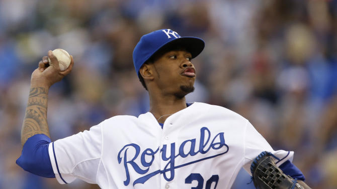 Kansas City Royals starting pitcher Yordano Ventura (30) delivers to an Oakland Athletics batter during the first inning of a baseball game at Kauffman Stadium in Kansas City, Mo., Saturday, April 18, 2015. (AP Photo/Orlin Wagner)