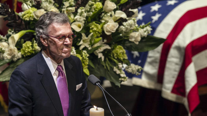 Former U.S. Sen. Tom Daschle pauses as he speaks at the funeral service for former Democratic U.S. Senator and three-time presidential candidate George McGovern at the Washington Pavilion of Arts and Science in Sioux Falls, S.D., Friday, Oct. 26, 2012. McGovern died Sunday in his native South Dakota at age 90. (AP Photo/Nati Harnik/pool)