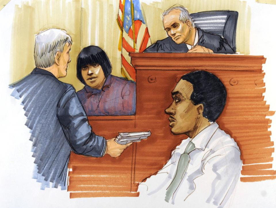 This courtroom sketch shows Julia Hudson testifying during the first day of William Balfour's murder trial at the Cook County Criminal Court in Chicago, Monday, April 23, 2012. Balfour is charged in the 2008 murder of the mother, brother and nephew of Oscar winner Jennifer Hudson. (AP Photo/Tom Gianni)