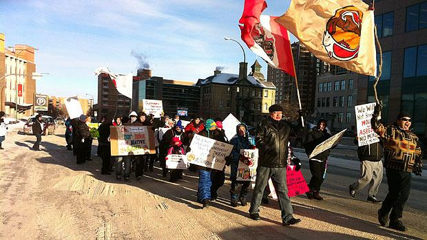 Idle No More protesters from Berens River march in downtown Winnipeg on Wednesday as part of a national day of action.