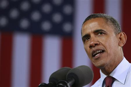 U.S. President Barack Obama speaks at a campaign rally at the Henry Maier Festival in Milwaukee