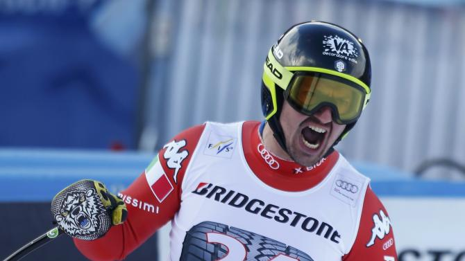 Verettoni of Italy reacts in finish area during men's Alpine Skiing World Cup downhill race in Garmisch-Partenkirchen