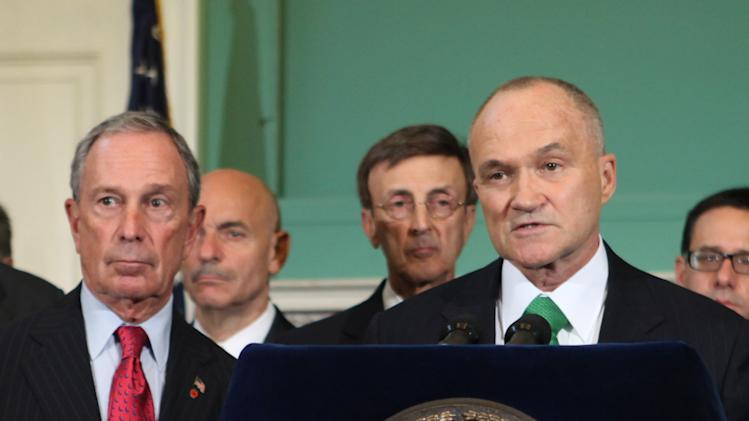 New York City Police Commissioner Raymond Kelly, left, joins Mayor Michael Bloomberg, left, for a media briefing on the city's preparations for Hurricane Irene, Thursday, Aug. 25, 2011 in New York. (AP Photo/NYC Mayor's Office, Kristen Artz)