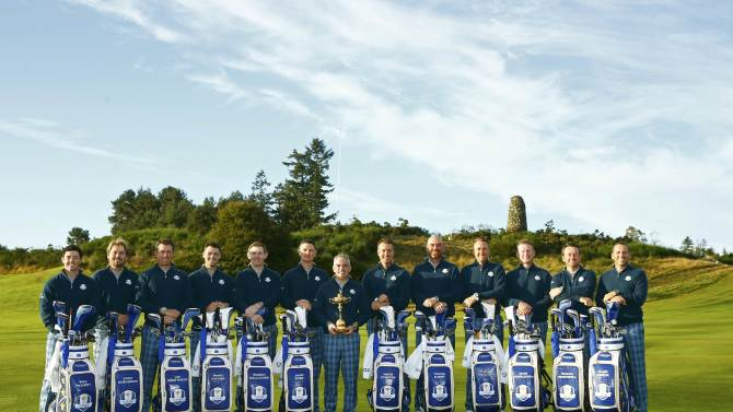 The European team line up for a photograph ahead of the 2014 Ryder Cup at Gleneagles