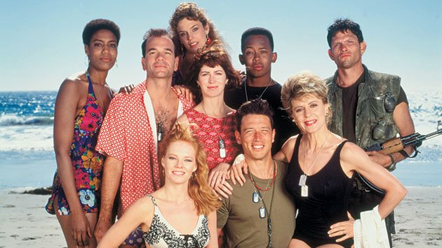 """China Beach"" - (L to R standing): Nancy Giles as Private Frankie Bunsen; Robert Picardo as Dr. Dick Richard; Megan Gallagher as Wayne Marie Holmes; Dana Delany as Army nurse Colleen McMurphy; Michael Boatman as Samuel Beckett; Jeff Kober as Dodger (L to R front): Marg Helgenberger as K.C.; Brian Wimmer as Boonie Lanier; Concetta Tomei as Lila Garreau"