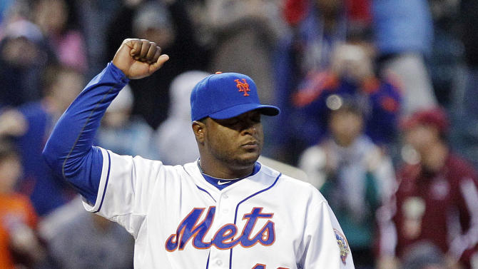 New York Mets closer Frank Francisco (48) reacts after the last out of a baseball game against the Arizona Diamondbacks, Saturday, May 5, 2012, in New York. The Mets won the game 4-3. (AP Photo/Frank Franklin II)