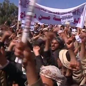 A protest against violence in Yemen