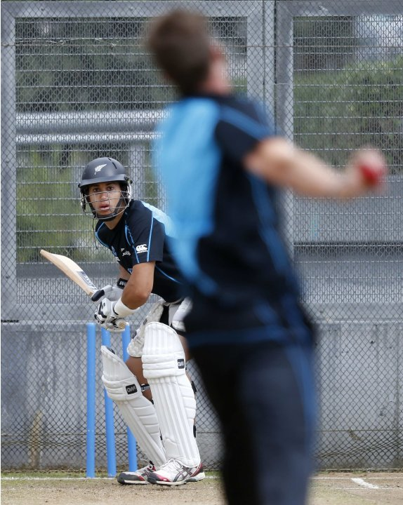 New Zealand's Taylor faces a delivery at a training session in Auckland