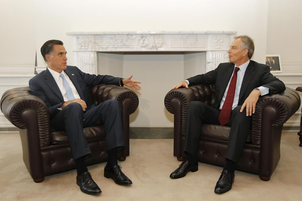 Republican presidential candidate and former Massachusetts Gov. Mitt Romney meets with former British Prime Minister Tony Blair in London, Thursday, July 26, 2012. (AP Photo/Charles Dharapak)