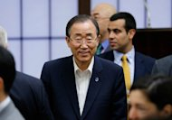 "UN leader Ban Ki-moon, pictured on July 7, on Saturday appealed to China's foreign minister to use his ""influence"" to help bring pressure on Syria's President Bashar al-Assad to end conflict, a UN spokesman said"