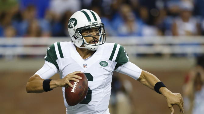 FILE - In this Friday, Aug. 9, 2013 file photo, New York Jets quarterback Mark Sanchez (6) drops back to pass against the Detroit Lions in the first quarter of an NFL football game in Detroit. Sanchez will start for the preseason home game against the Jacksonville Jaguars on Saturday. (AP Photo/Rick Osentoski, File)