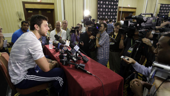 Notre Dame tight end Tyler Eifert answers questions during a media availability, Friday, Jan. 4, 2013 in Fort Lauderdale, Fla. Notre Dame is scheduled to play Alabama on Monday, Jan. 7, in the BCS national championship NCAA college football game. (AP Photo/Wilfredo Lee)