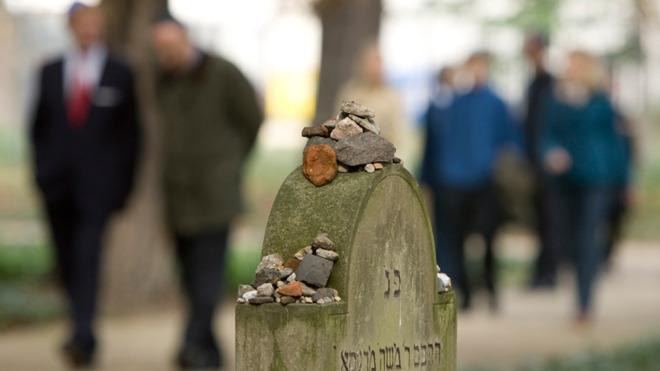 A gravestone at the historical Jewish cemetery in the Mitte district of Berlin.