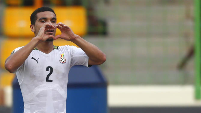 Kwesi Appiah celebrates after scoring against Guinea in their quarter-final soccer match of the 2015 African Cup of Nations in Malabo