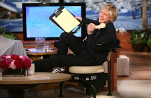 Ellen tries to work while working out with the Hawaii Chair.