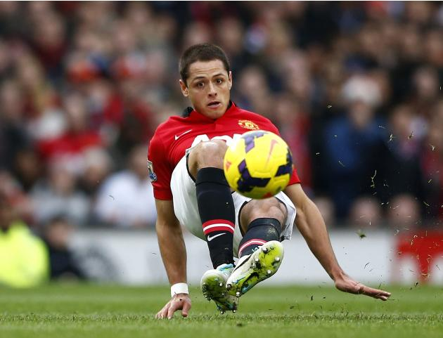 Manchester United's Hernandez controls the ball during their English Premier League soccer match against Newcastle United at Old Trafford in Manchester