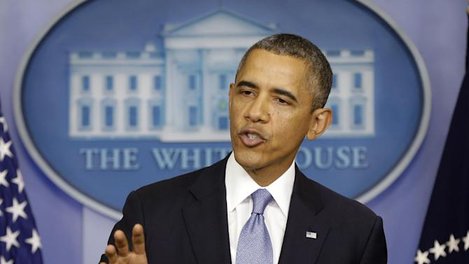President Barack Obama speaks in the James Brady Briefing room of the White House in Washington, Monday, Sept. 30, 2013. Obama said a government shutdown would throw a wrench into the gears of U.S. economy. (AP Photo/Pablo Martinez Monsivais)
