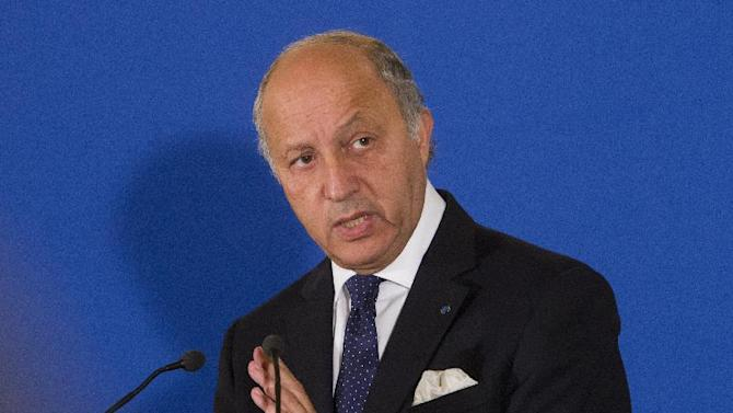 France's Foreign Minister Laurent Fabius speaks during a press meeting at the Quai d' Orsay, in Paris, Tuesday, Sept. 10, 2013. Fabuis said France will float a resolution in the U.N. Security Council aimed at forcing Syria to make public its chemical weapons program, place it under international control and dismantle it. (AP Photo/Jacques Brinon)