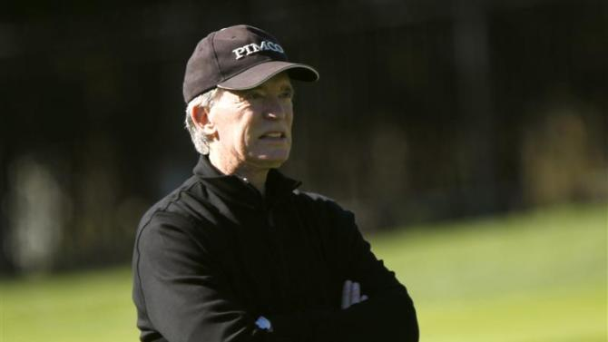 Bill Gross looks on while playing golf at Pebble Golf Links in Pebble Beach