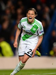 LONDON, ENGLAND - MAY 23:  Martina Muller of VfL Wolfsburg celebrates scoring their first goal from the penalty spot during the UEFA Women's Champions League Final Match between VfL Wolfsburg and Olympique Lyonnais at Stamford Bridge on May 23, 2013 in London, England.  (Photo by Laurence Griffiths/Getty Images)