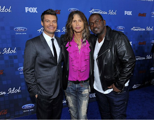 "Ryan Seacrest, Steven Tyler, and Randy Jackson arrive at the ""American Idol"" Top 13 Finalists Party on Thursday, March 3, 2011 at The Grove in Los Angeles, CA."