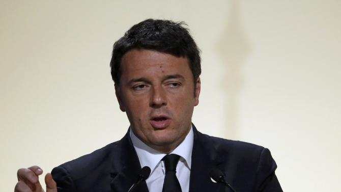 Italy's Prime Minister Renzi  delivers a speech during the opening session of the World Climate Change Conference 2015 (COP21) at Le Bourget