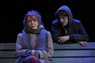 "This theater image released Spin Cycle shows Noah Robbins, right, and Deirde O'Connell during a performance of ""The Vandal,"" at the Flea Theatre in New York. (AP Photo/Spin Cycle, Joan Marcus)"