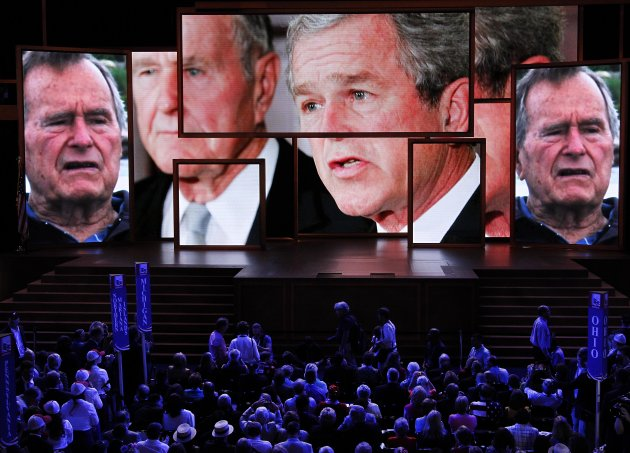 A video tribute to President George H. W. Bush and President George W. Bush is shown during the Republican National Convention in Tampa, Fla., on Wednesday, Aug. 29, 2012. (AP Photo/J. Scott Applewhite)
