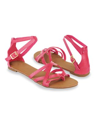 Crossed Strap Hot Pink Sandals