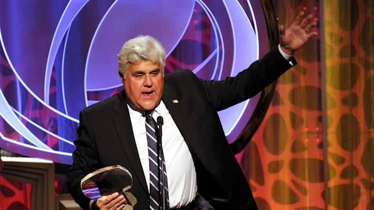 IMAGE DISTRIBUTED FOR THE TELEVISION ACADEMY - EXCLUSIVE - Hall of Fame inductee Jay Leno speaks on stage at the 2014 Television Academy Hall of Fame on Tuesday, March 11, 2014, at the Beverly Wilshire in Beverly Hills, Calif. (Photo by Frank Micelotta/Invision for the Television Academy/AP Images)