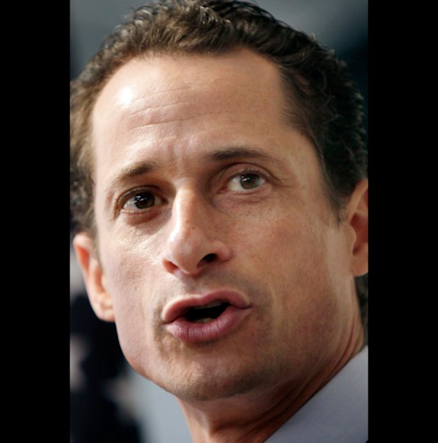 File-This June 16, 2011 file photo shows Anthony Weiner speaking to the media during a news conference in New York.  The ex-congressman who resigned over raunchy tweets said late Tuesday may 21, 2013,