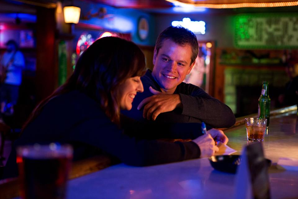 "This undated publicity film image provided by Focus Features shows Rosemarie DeWitt, left, as Alice and Matt Damon, as Steve, in Gus Van Sant's contemporary drama, ""Promised Land,"" a Focus Features release. (AP Photo/Focus Features, Scott Green)"