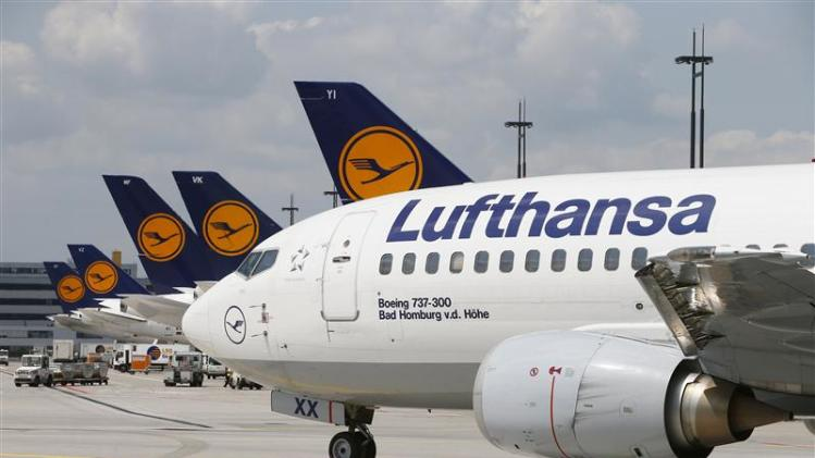 File photo of Lufthansa aircraft driving on the tarmac at Frankfurt airport