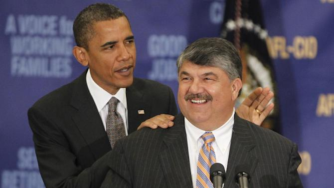 "File- This Aug. 4, 2010 file photo shows President Barack Obama standing with AFL-CIO Presidet Richard Trumka after he spoke about jobs and the economy at the AFL-CIO Executive Council in Washington. ""There are things the president can do, and we'll be expecting that leadership from President Obama,""  Trumka told reporters after the election. Topping the list, for now, is a push to raise taxes on wealthy Americans and discouraging Obama from agreeing to any deal with Republicans over the looming ""fiscal cliff"" that cuts into Social Security and Medicare benefits. (AP Photo/Charles Dharapak, File)"