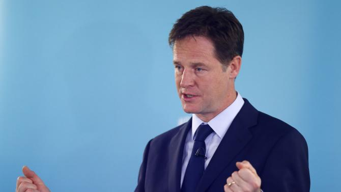 Britain's Deputy Prime Minister and leader of the Liberal Democrats, Nick Clegg, delivers a speech on international development, in London
