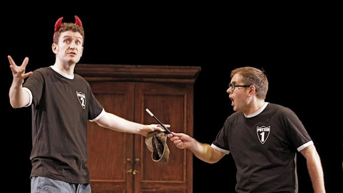"This undated theater image released by David Gersten & Associates, Jefferson Turner, left, and Daniel Clarkson are shown during a performance of ""Potted Potter,"" in New York. Producers said Wednesday, April 10, 2013, the off-Broadway's Little Shubert Theatre will once again house the 70-minute parody of the entire book series starting May 30. It will leave Sept. 1. (AP Photo/David Gersten & Associates, Carol Rosegg)"