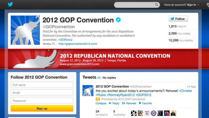 In this screen shot provided by the Committee on Arrangements for the 2012 Republican National Convention, the committee's Twitter account is seen. Social media is making the smoke-filled rooms of political conventions a thing of the past. Democrats are promising to use Twitter, Facebook and blogs to make their 2012 convention the most open to the public in the party's two-century history. (AP Photo/Committee on Arrangements for the 2012 Republican National Convention)