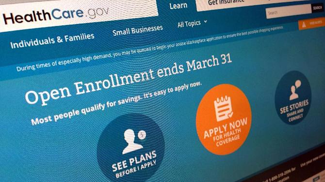 """This March 1, 2014 file photo shows part of the website for HealthCare.gov in Washington. The Obama administration has concluded it will not publicly disclose federal records that could shed light on the security of the government's signature health care website because doing so could """"potentially"""" allow hackers to break in. (AP Photo/Jon Elswick)"""