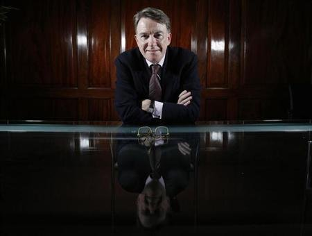 Former government minister and EU trade commissioner, Peter Mandelson, poses for a photograph during a Reuters interview in London February 22, 2013. Prime Minister David Cameron risks wrecking Britain's financial centre with his bid to wrest back powers from the European Union ahead of a vote on whether to leave, one of the UK's most influential Europhiles says. Mandelson, once one of Britain's most powerful men, told Reuters Cameron was imperilling the country's future by promising to claw back powers from the EU and to hold an in-out membership referendum by the end of 2017. Photograph taken February 22, 2013. REUTERS/Luke MacGregor