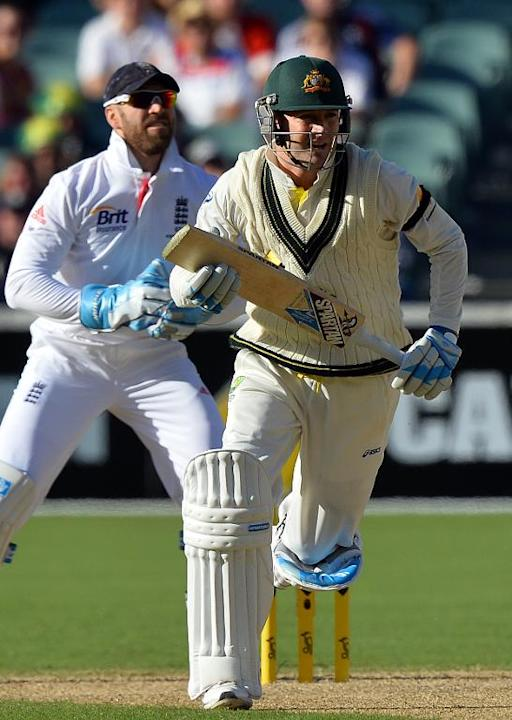 Australia's batsman Michael Clarke runs between the wickets during the first day of the second Ashes Test cricket match against England in Adelaide on December 5, 2013