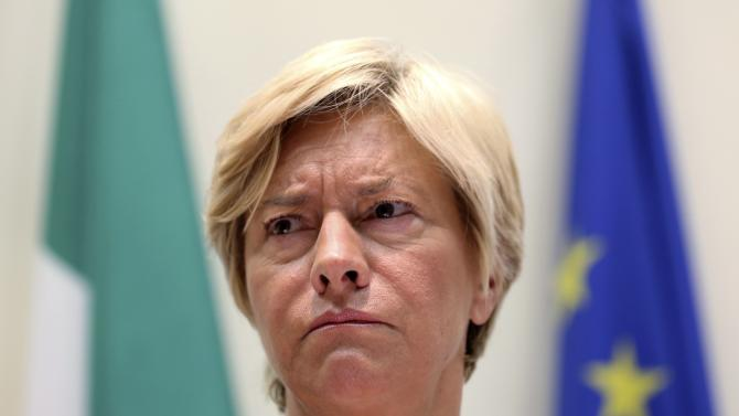 Italy's Defense Minister Pinotti attends a news conference with Health Minister Lorenzin in Rome