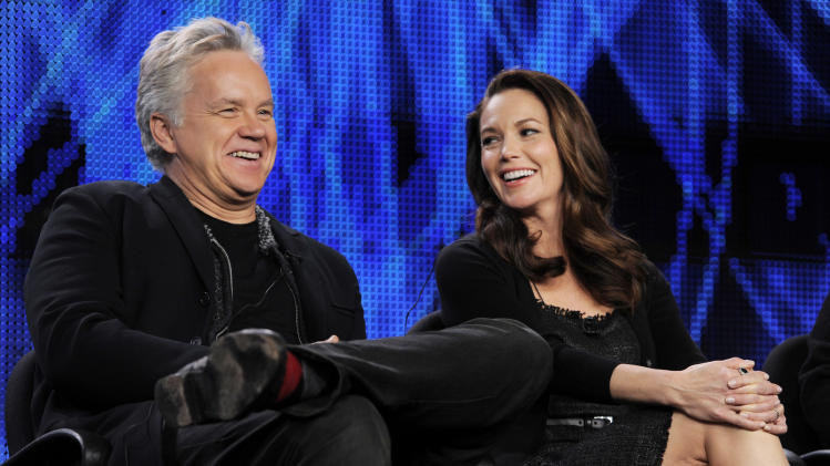 "Tim Robbins, left, and Diane Lane, cast members in the HBO film ""Cinema Verite,"" take part in a panel discussion during the HBO Television Critics Association winter press tour in Pasadena, Calif., Friday, Jan. 7, 2011. (AP Photo/Chris Pizzello)"