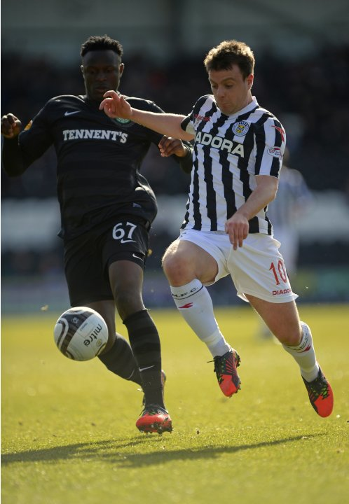 Celtic's Wanyama challenges St. Mirren's McGowan during their Scottish Cup 6th round soccer match at St. Mirren Park Stadium in Paisley, Scotland